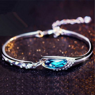 Blue Crystal Bracelet With Rhinestone Inlaid