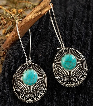 Dangle Drop Turquoise Stone earrings