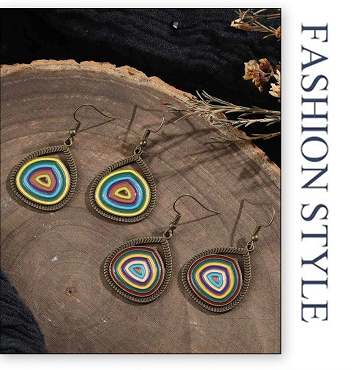 Circular Mulit-color Dangle Earrings
