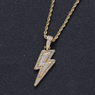 Bling Lightening Bolt Necklace