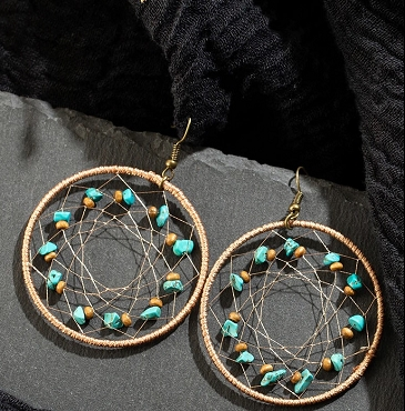 Round Dangle Earrings Hanging With Stones