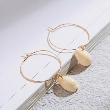 Gold Round Earrings With Dangle Shell