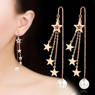 Long Tassle Stars With Pearl Earrings