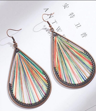 Teardrop fiber thread dangle earrings- rainbow
