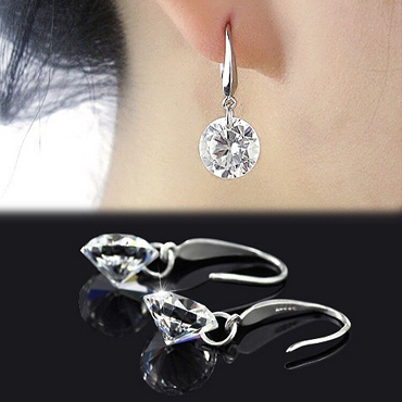 Round Dangle Zircon Earrings