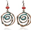 Spiral dangle earrings with stone - copper