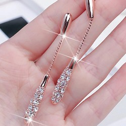 Long crystal waterdrop cz earrings - rosegold